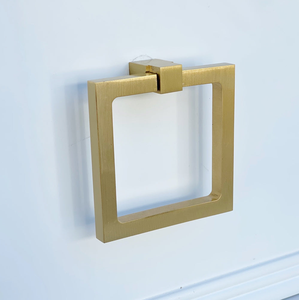 Zimi Square Ring Pull in Satin Brass