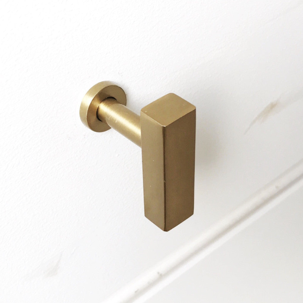 drawer pull backordered · modern brass cabinet knob tbar . european brass cabinet knob  drawer pull  brass handle – forge