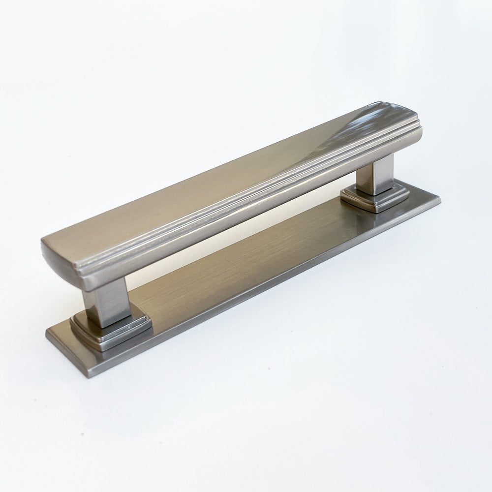 "Satin Nickel Square 4"" Art Deco Drawer Pull w/ Backplate"