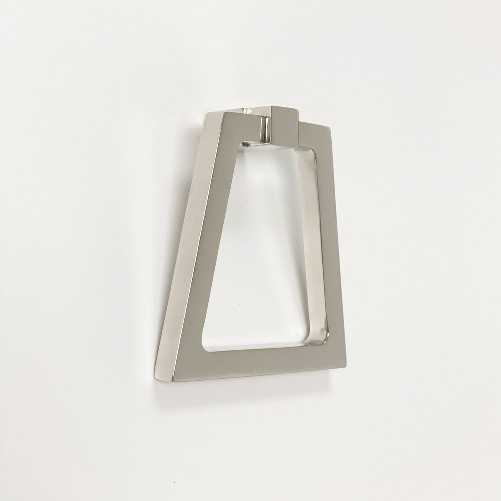 Zimi Triangular Oversized Ring Pull in Polished Nickel