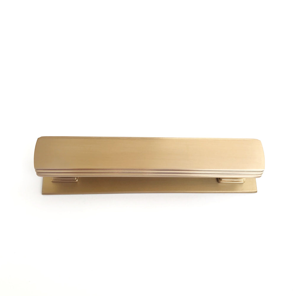 "Satin Brass Square 4"" Art Deco Drawer Pull w/ Backplate - Brass Cabinet Hardware"