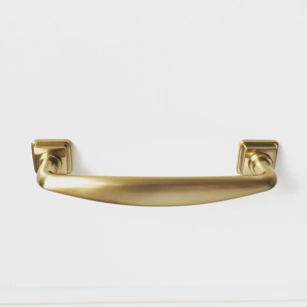 "Kelly No.2 Brass 3-3/4"" Cabinet Drawer Pull - Kitchen Drawer Handle"