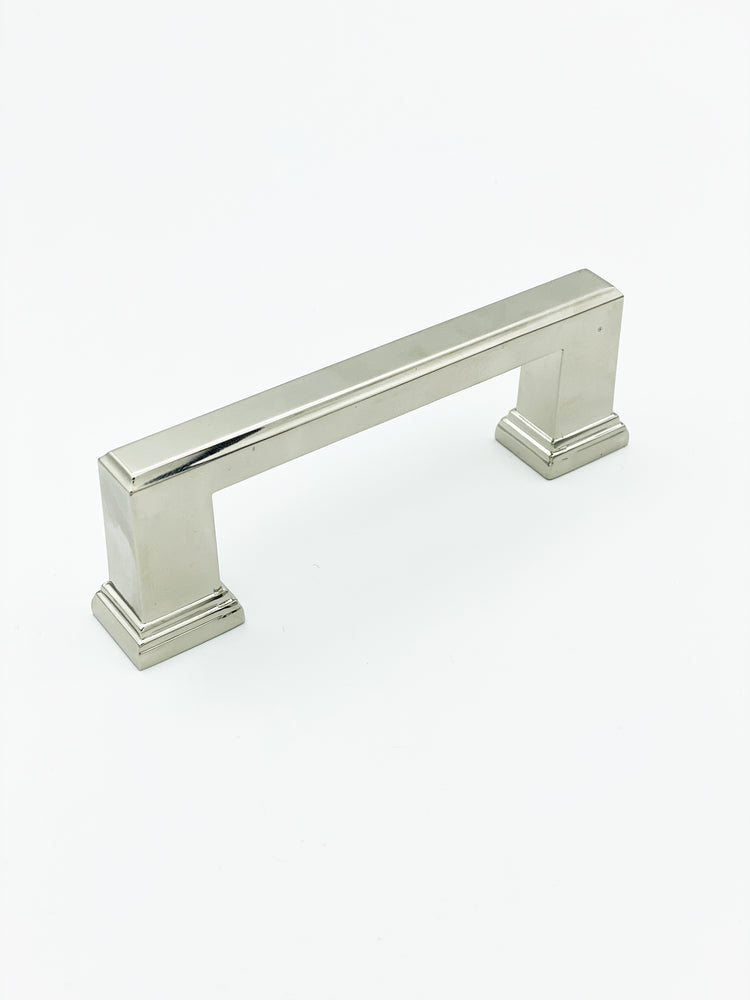 "Polished Nickel ""Newton"" Mission Drawer Pulls - Kitchen Cabinet Handles"