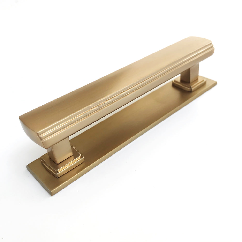 "Satin Brass Square 4"" Art Deco Drawer Pull w/ Backplate"