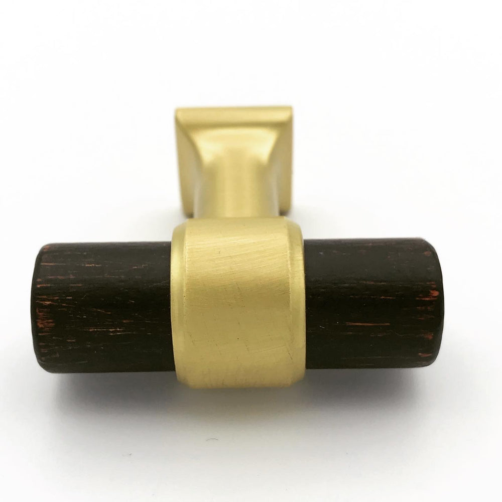 "Wood and Brass 1-9/16""  T-Bar Cabinet Knob - Brass Cabinet Hardware"