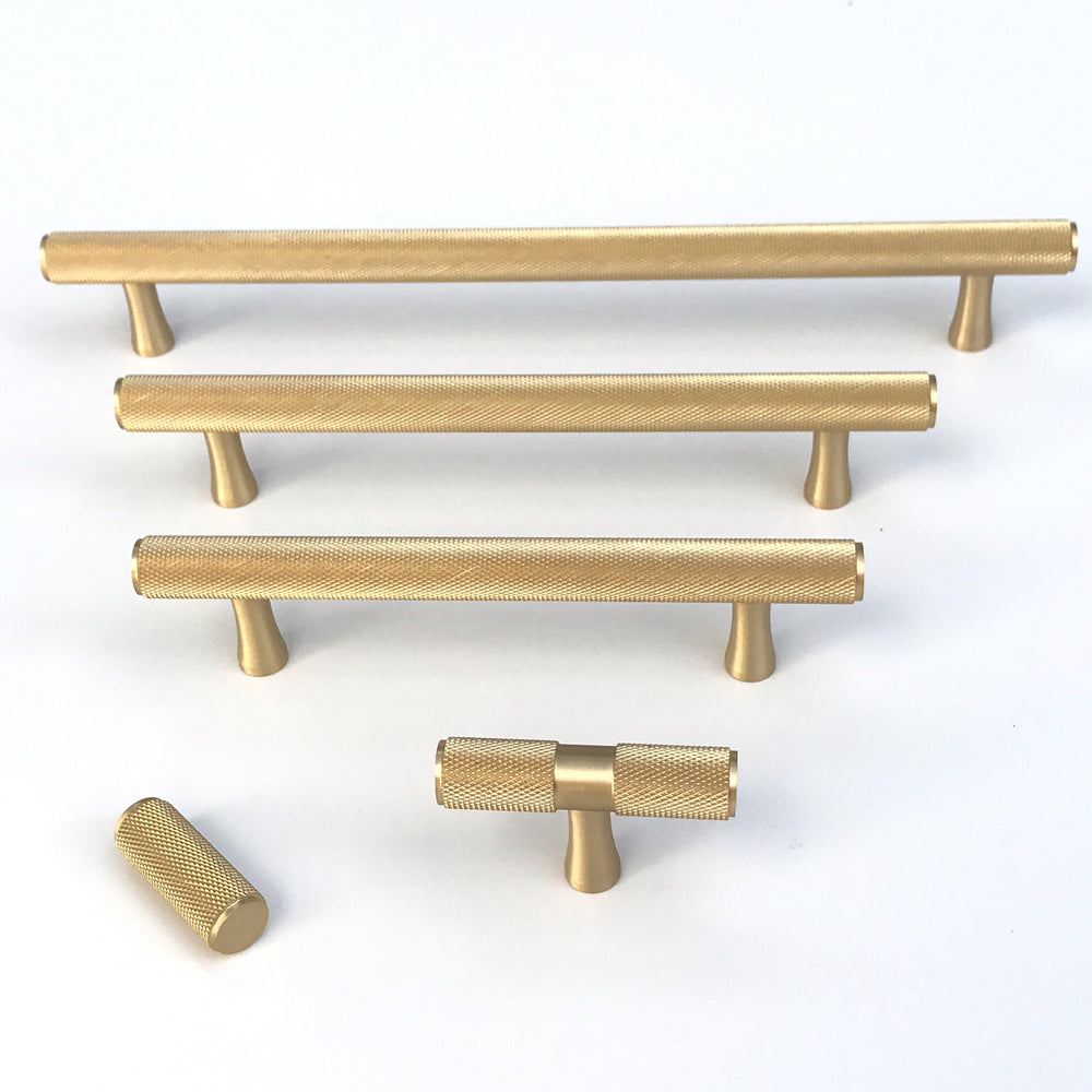 "Brass Solid ""Texture"" Knurled Drawer Pulls and Knobs in Satin Brass - Brass Cabinet Hardware"