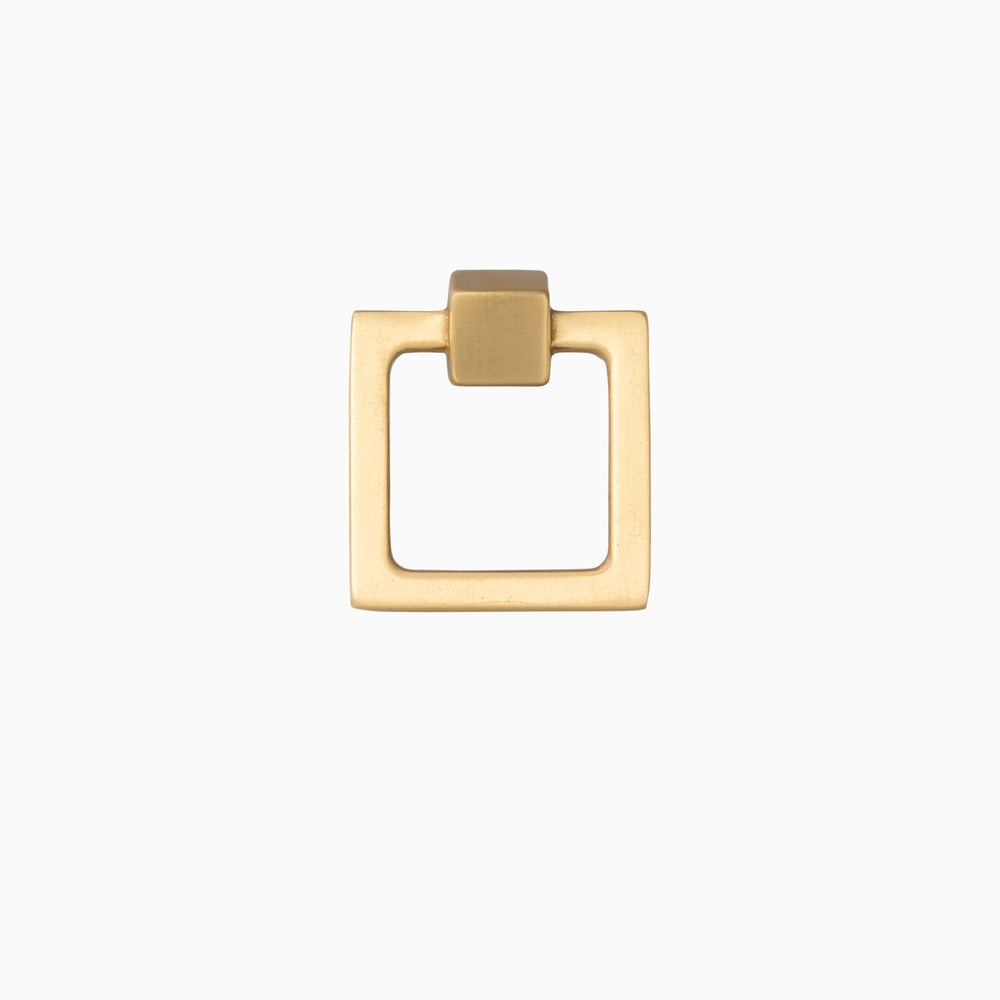"Square Duane 1-13/16"" Brass Ring Pull - Brass Cabinet Hardware"
