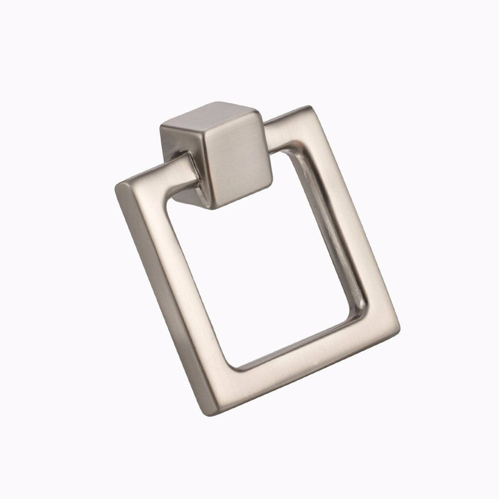 "Square Duane 1-13/16"" Brushed Nickel Ring Pull - Brass Cabinet Hardware"