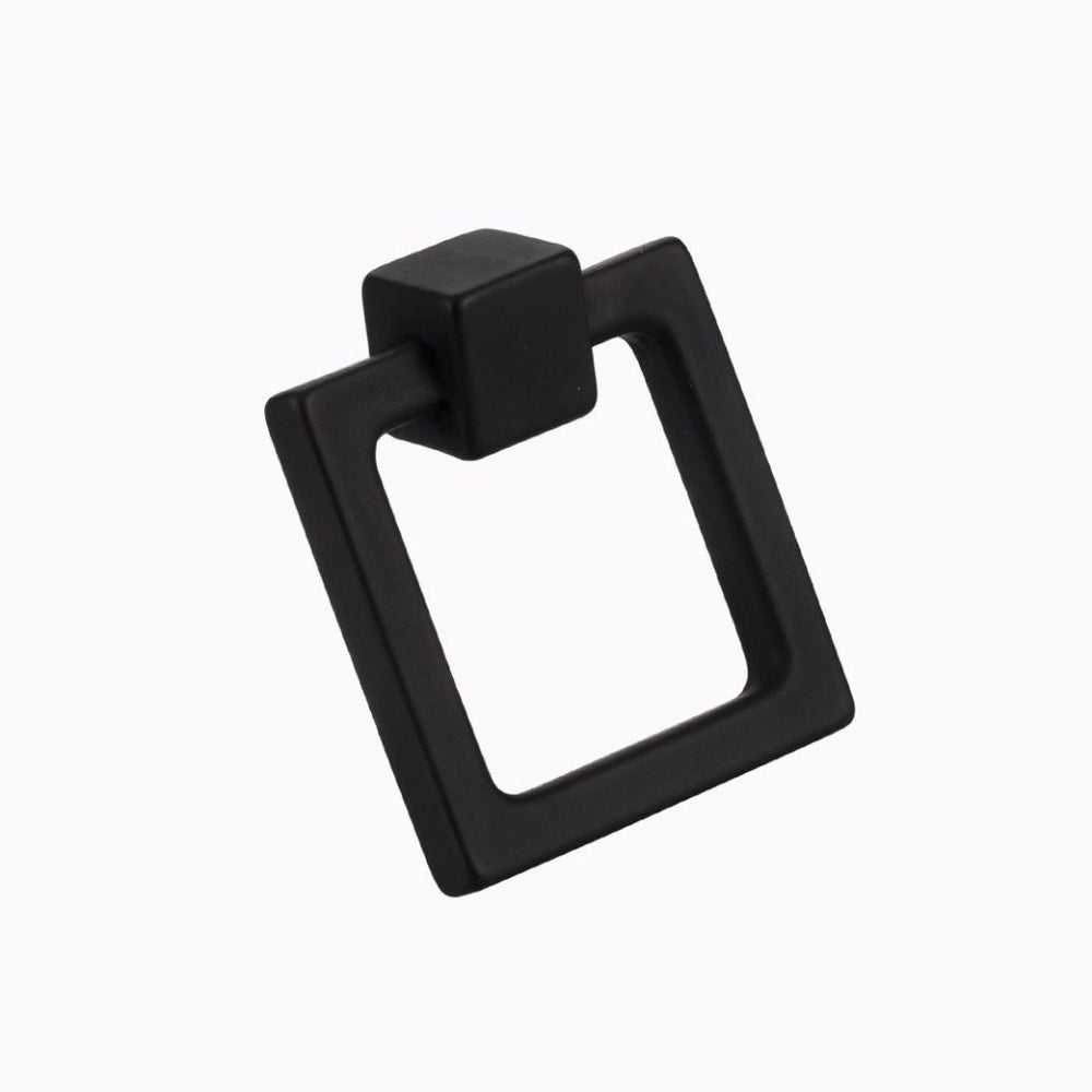 "Duane 1-13/16"" Square Black Ring Pull - Brass Cabinet Hardware"