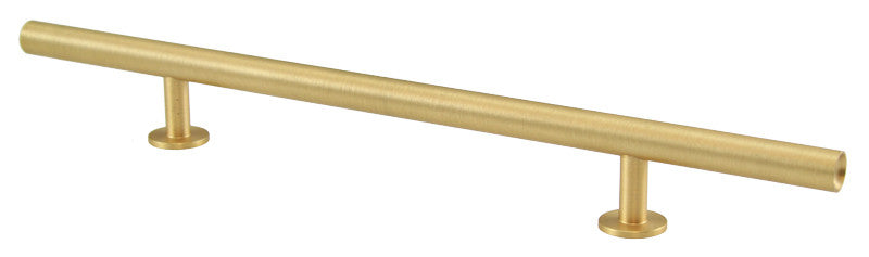 "Lew's Hardware 31-114 Bar Series Round Bar Handle, 6"" Centers, 10-1/2"" Length - Brass Cabinet Hardware"