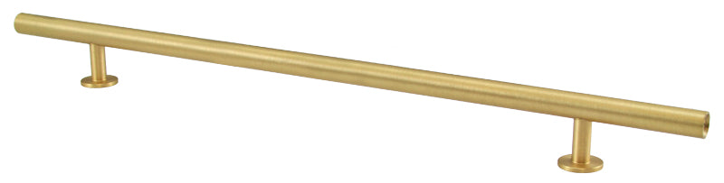 "Lew's Hardware 31-117 Bar Series Round Bar Handle, 10"" Centers, 14"" Length - Brass Cabinet Hardware"