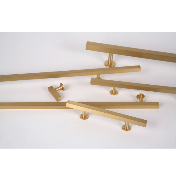 "Lew's Hardware 31-102 Bar Series Brass Cabinet Handle, 3"" Centers, 5"" Length - Brass Cabinet Hardware"