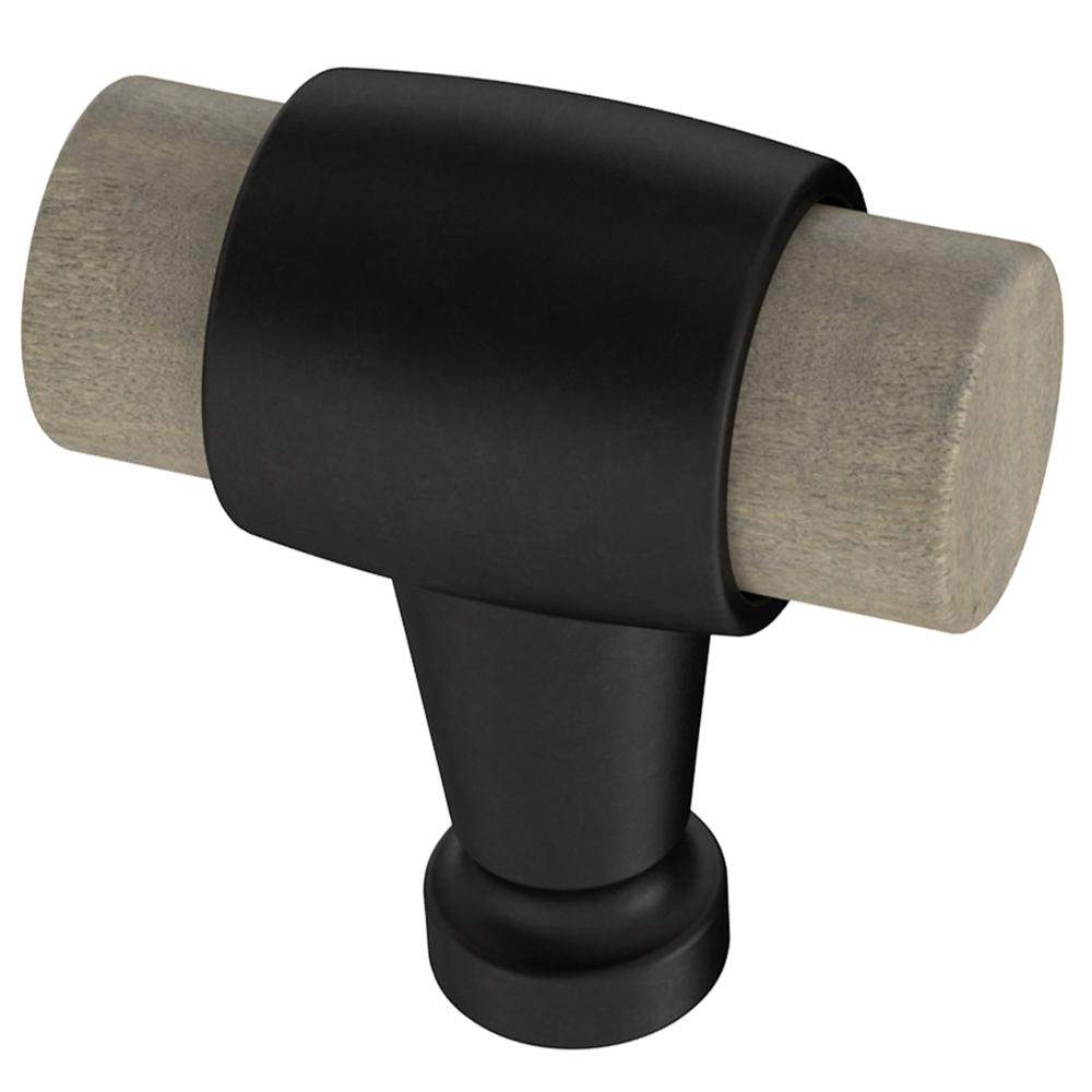"Matte Black and Light Wood ""Vara"" Cabinet Knob and Drawer Handles - Brass Cabinet Hardware"