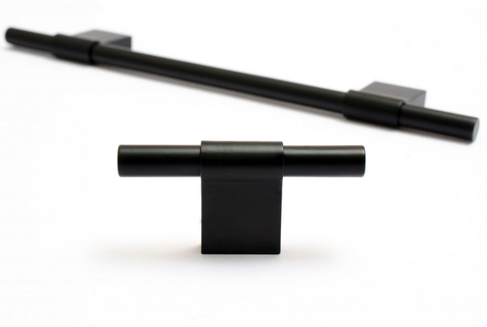 Line Matte Black Cabinet Knobs and Drawer Pulls - Brass Cabinet Hardware