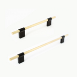 Line Brass and Black Drawer Pulls Cabinet Hardware