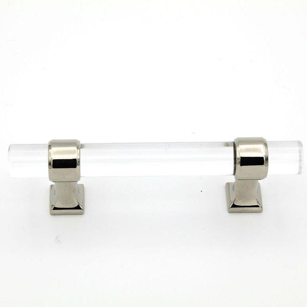 Chrome and Lucite Modern Cabinet Pull Knob Chic Moderne - Brass Cabinet Hardware