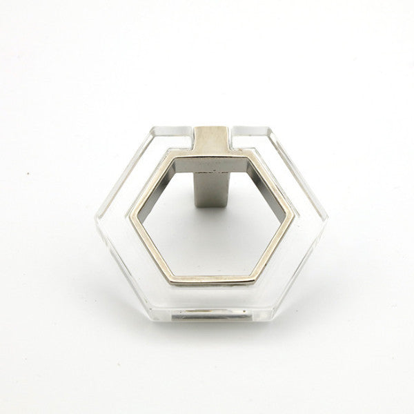 Polished Nickel And Lucite Geometric Knob Forge Hardware