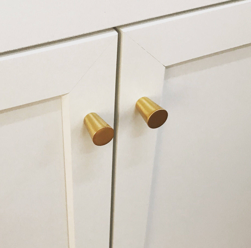 "CLEARANCE - Modern Brass Mid-Century ""MCM 02"" Cone Cabinet Knob - Brass Cabinet Hardware"