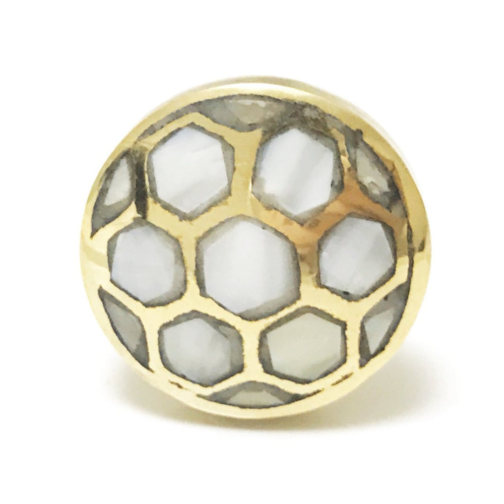 Mother of Pearl Beehive Gold Cabinet Knob - Drawer Pull - Brass Cabinet Hardware