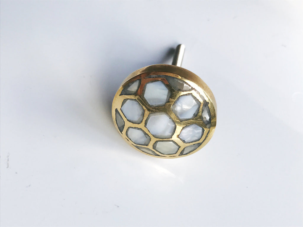 Nice ... Mother Of Pearl Beehive Gold Cabinet Knob   Drawer Pull   Brass Cabinet  Hardware ...