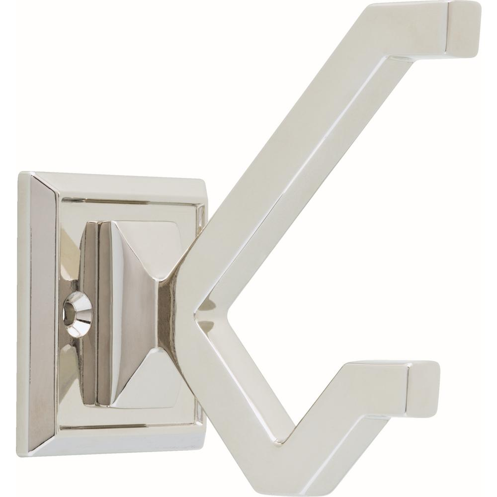 "Modern ""Elle"" Polished Nickel Wall Coat and Hat Hook"