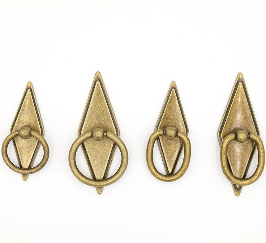 "Rhombus ""Ella"" Antique Bronze Ring Drawer Pulls with Backplate"