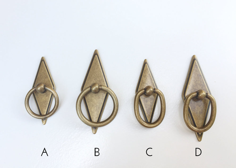 Rhombus Geometric Antique Brass Drawer Pulls - Brass Cabinet Hardware