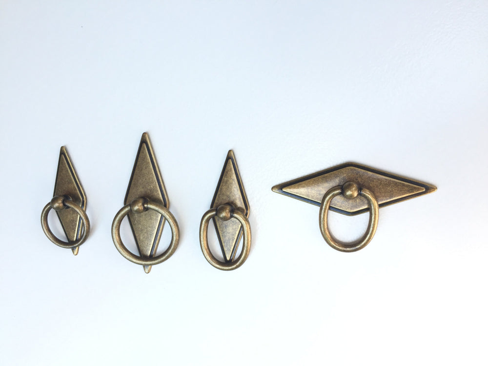 Antique Brass Rhombus Ring Drawer Pulls in Antique Brass - Brass Cabinet Hardware