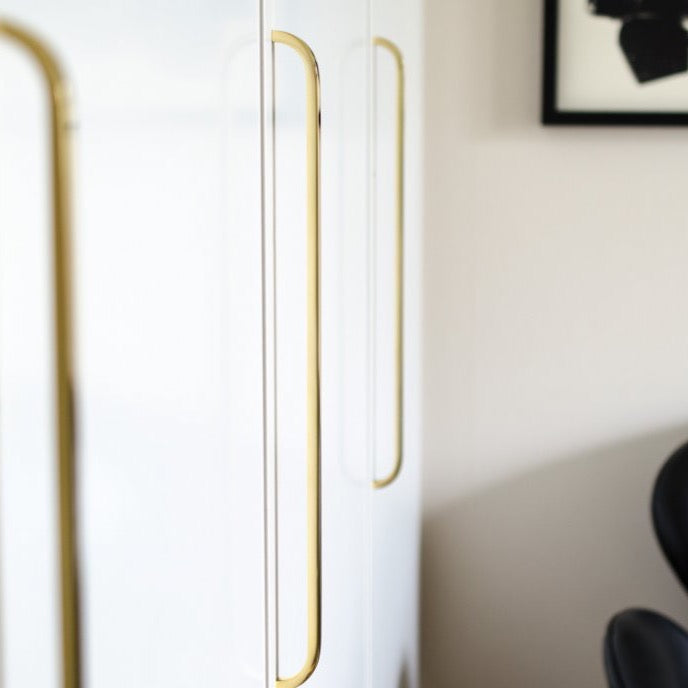 Long Curve Brushed Brass Cabinet Drawer Pulls and Closet Handles