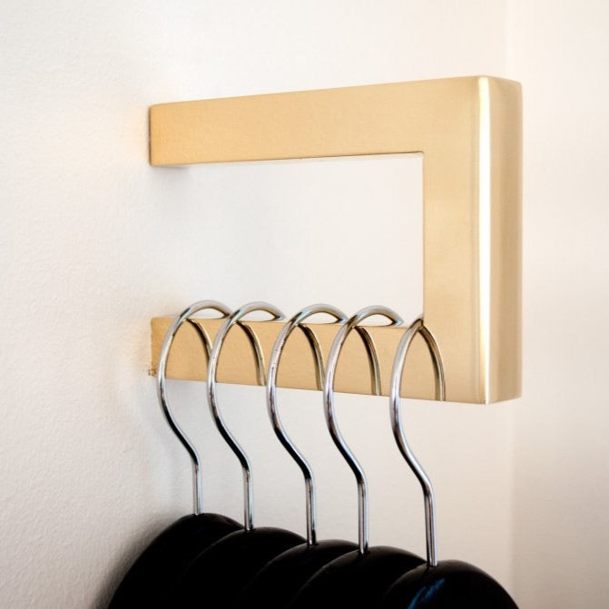 "Modern ""Gate"" Polished Brass Square Wall Hook - Hardware Wall Coat Hook"
