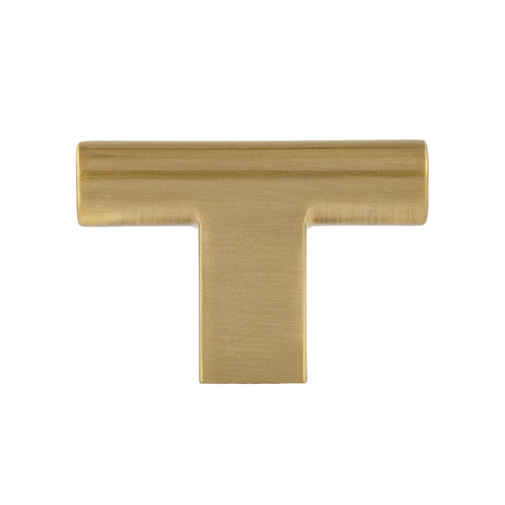 "Satin Brass ""Summer"" T-Knob Drawer Cabinet Knob - Brass Cabinet Hardware"