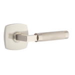 T-Bar Knurled SELECT Satin Nickel Door Lever w/ Urban Modern Rosette