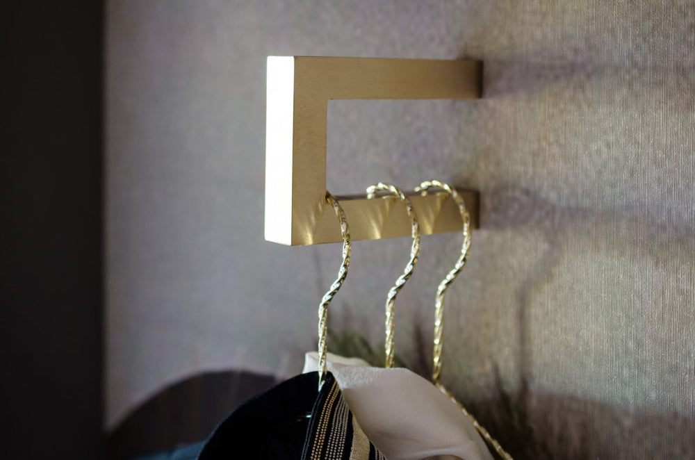 "Modern ""Gate"" Brushed Brass Square Wall Hook - Hardware Wall Coat Hook"
