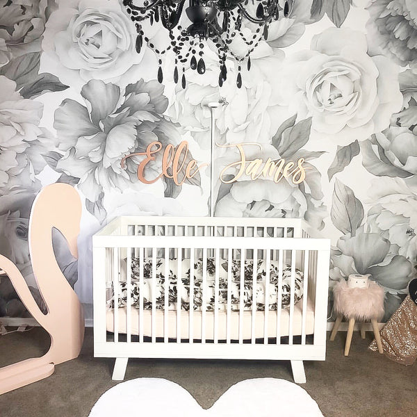 B&W Peony and Rose Wallpaper - Ginger Monkey