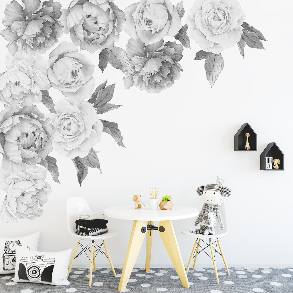 Peony & Rose Individual Wall Decals - Black & White
