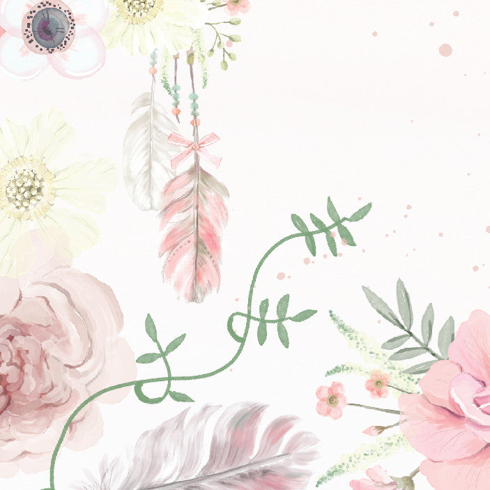 Girls Boho Floral Wallpaper