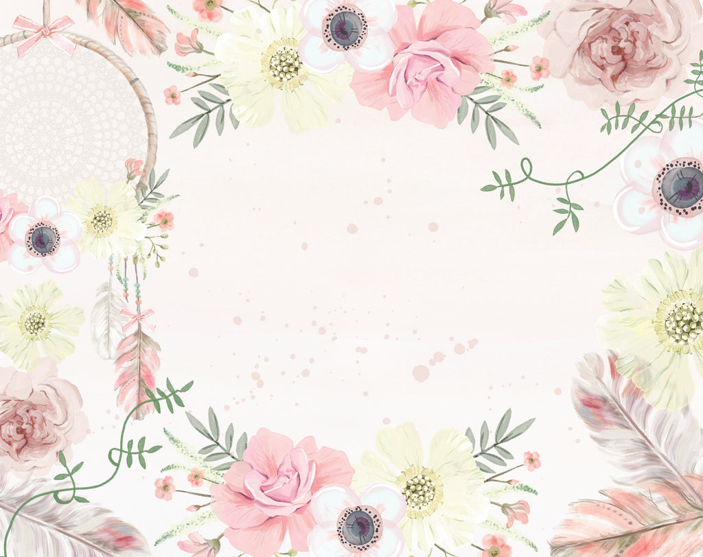 girls boho floral wallpaper – ginger monkey