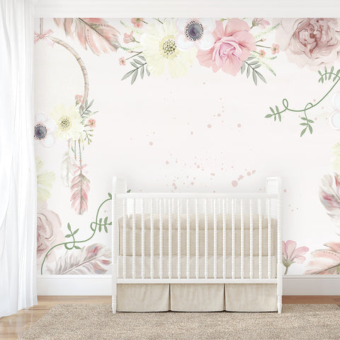 Girls Boho Floral Wallpaper - Ginger Monkey