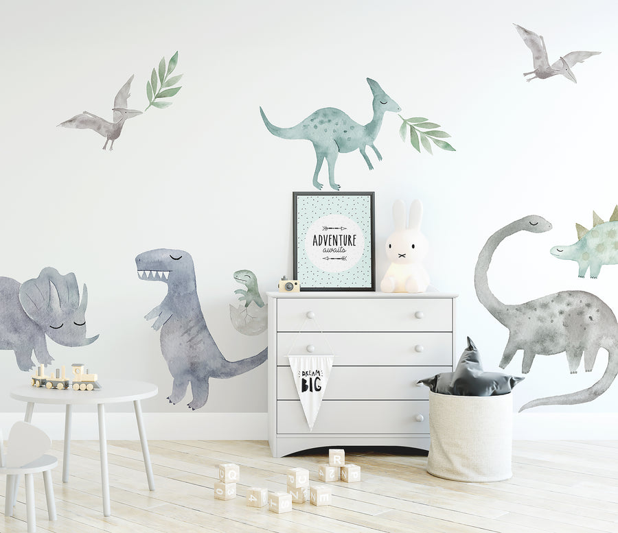 Watercolour Dinosaurs Wall Decal Set