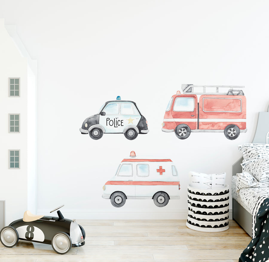 Emergency Vehicle Wall Decal Set