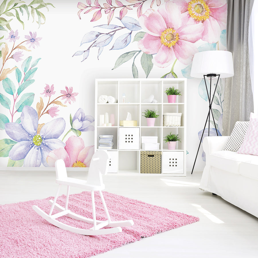 Spring Flowers Watercolour Wallpaper - Ginger Monkey