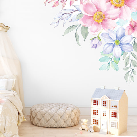 Spring Flowers Corner Wall Decal - Ginger Monkey