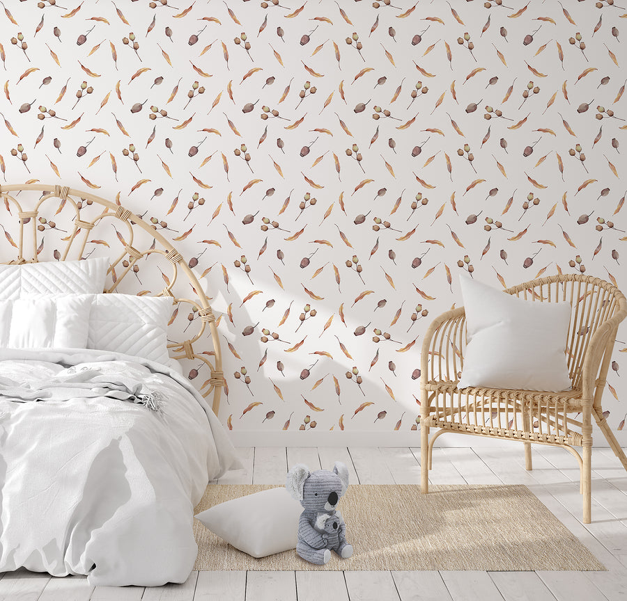 Australian Flora Wallpaper Range - Gum Nuts & Leaves