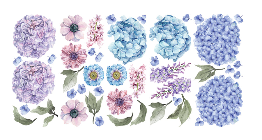 Blue & Lilac Hydrangea Floral Wall Decals