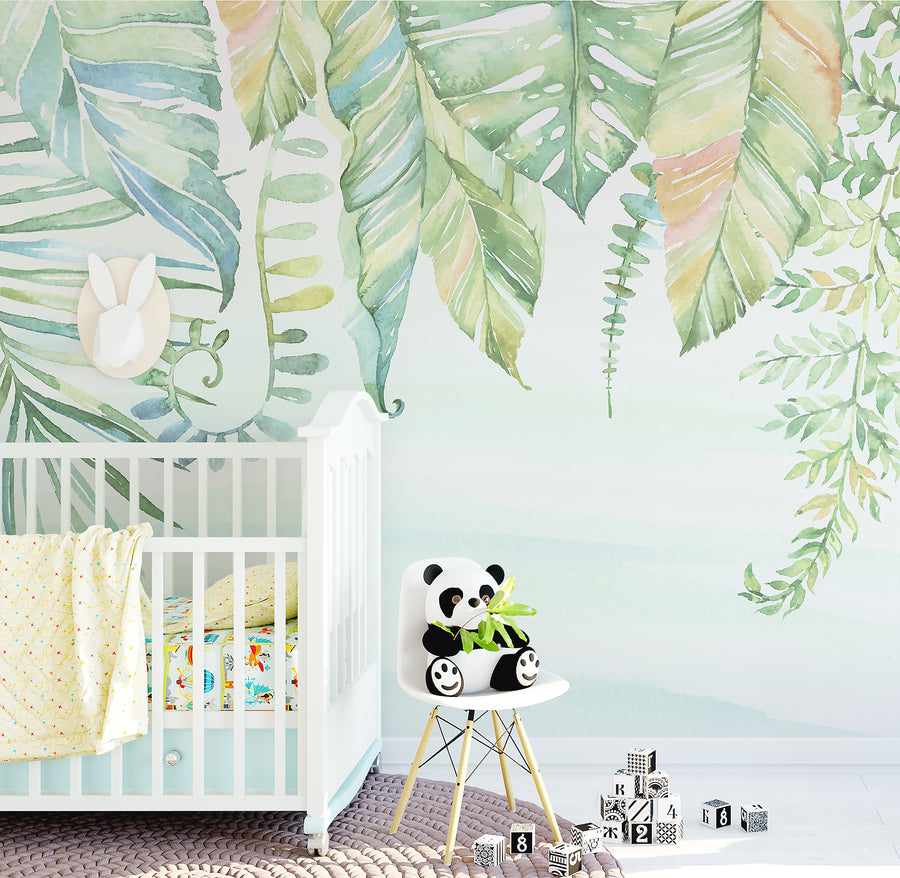 Watercolour Jungle Wallpaper - Ginger Monkey