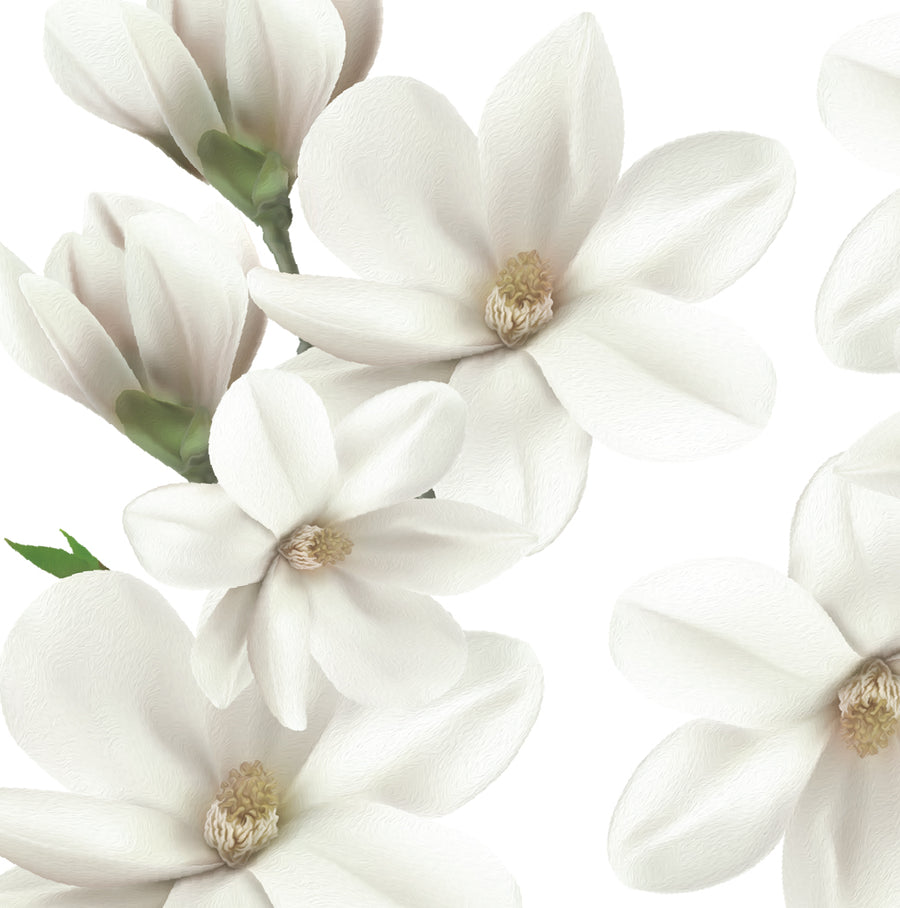 White Magnolia Wall Decal Set