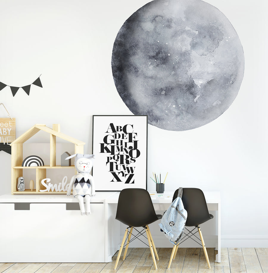 Blue Moon Watercolour Decal