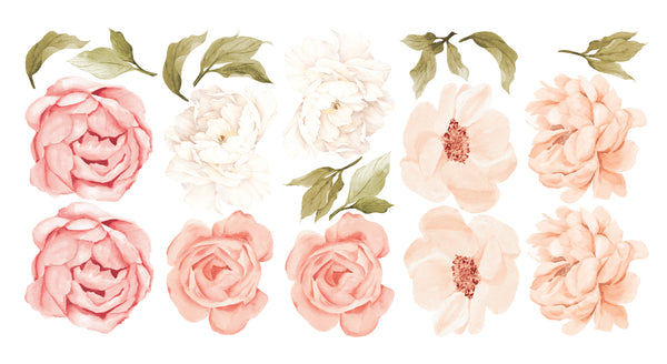 Peachy Peony & Rose Wall Decals - Ginger Monkey