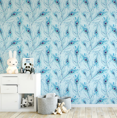 Peacock Feather Watercolour Wallpaper - Ginger Monkey