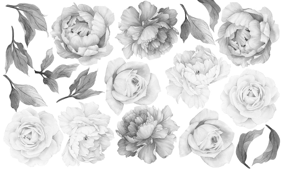 Peony & Rose Individual Wall Decals - Black & White - Ginger Monkey